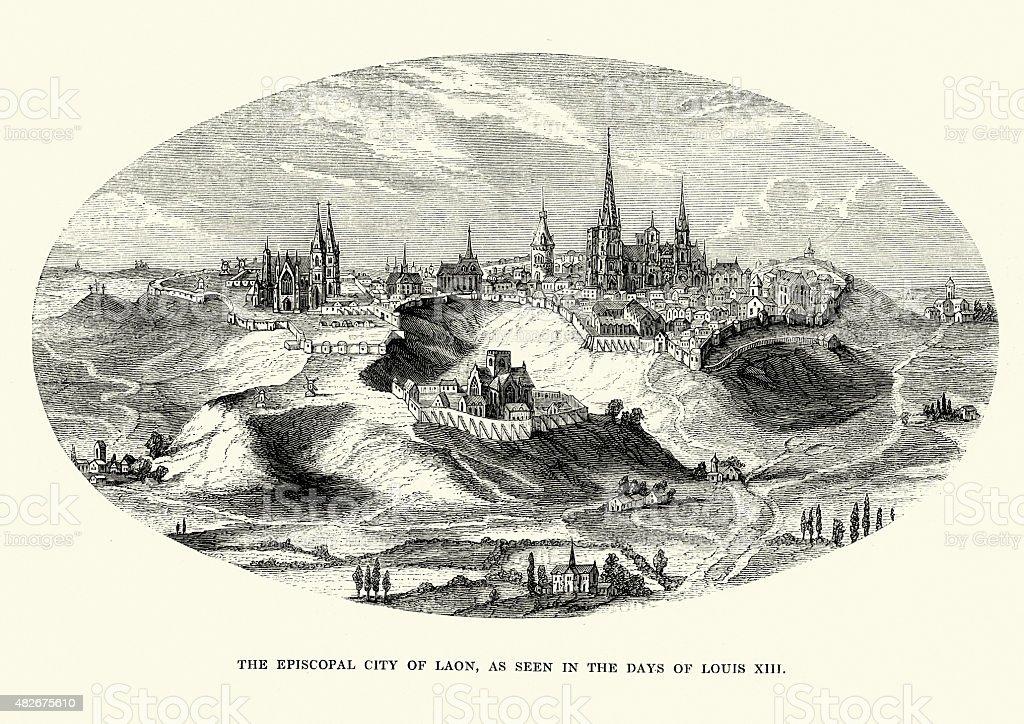 Episcopal City of Laon, France vector art illustration