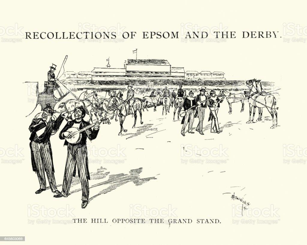 Epsom Derby Hill opposite the Grand Stand vector art illustration
