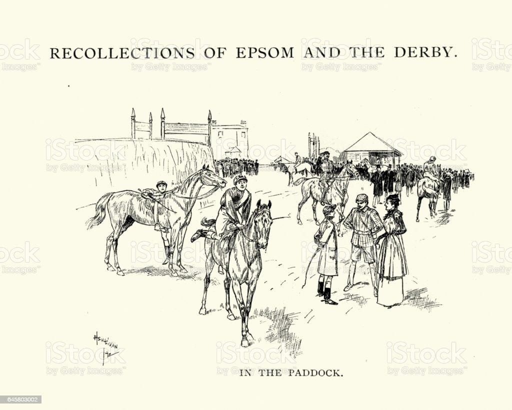 Epsom Derby horses in the Paddock, 1892 vector art illustration
