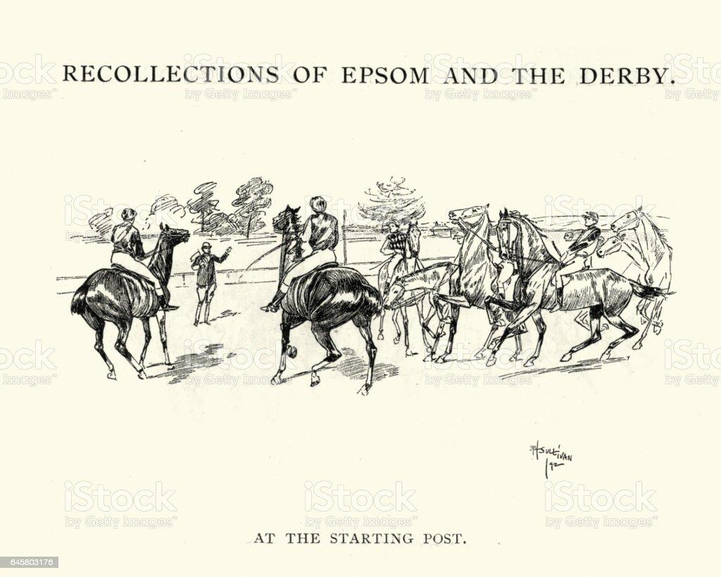 Epsom Derby Racehorses at the starting post vector art illustration
