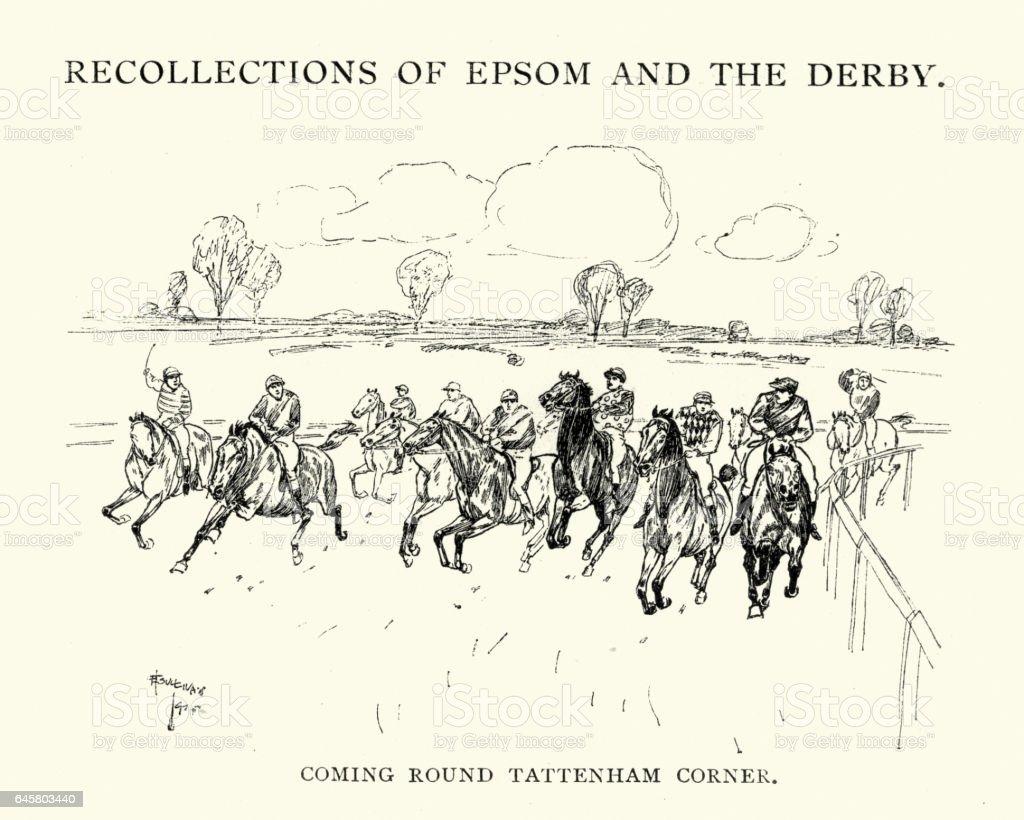 Epsom Derby Racehorses coming round Tattenham corner vector art illustration