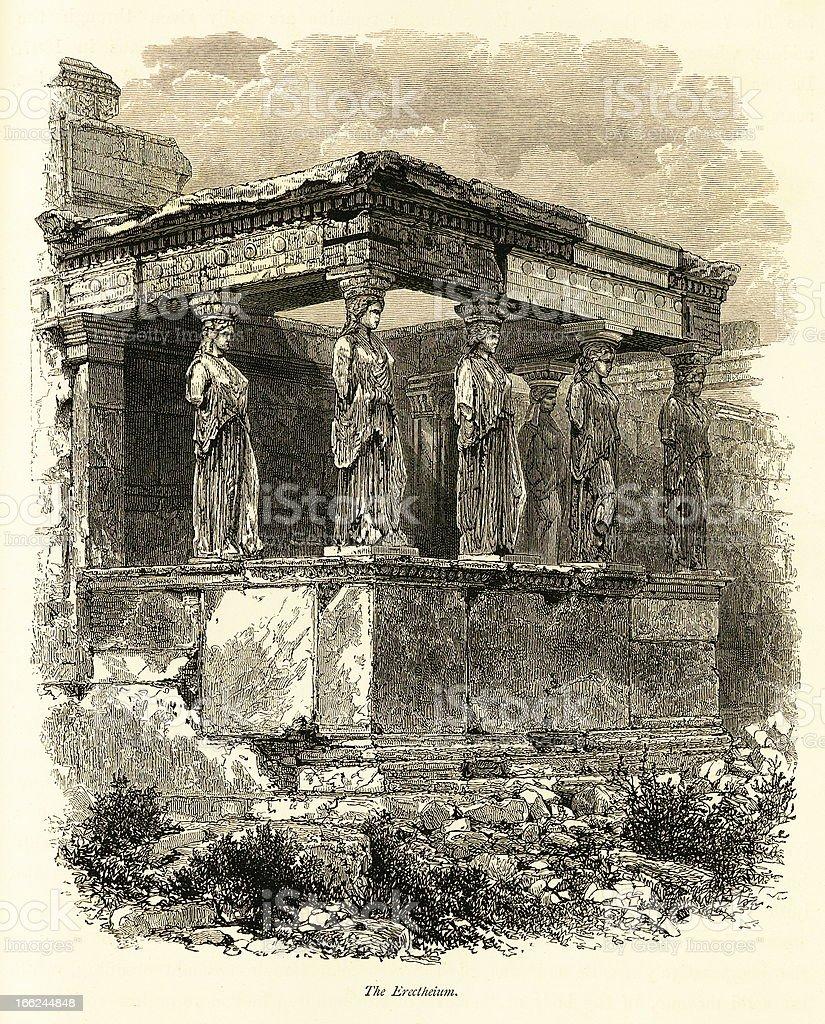 Erechtheion, Athens, Greece (antique wood engraving) royalty-free stock vector art