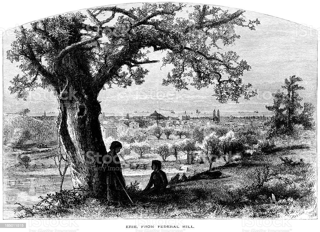 Erie from Federal Hill (Victorian engraving) vector art illustration