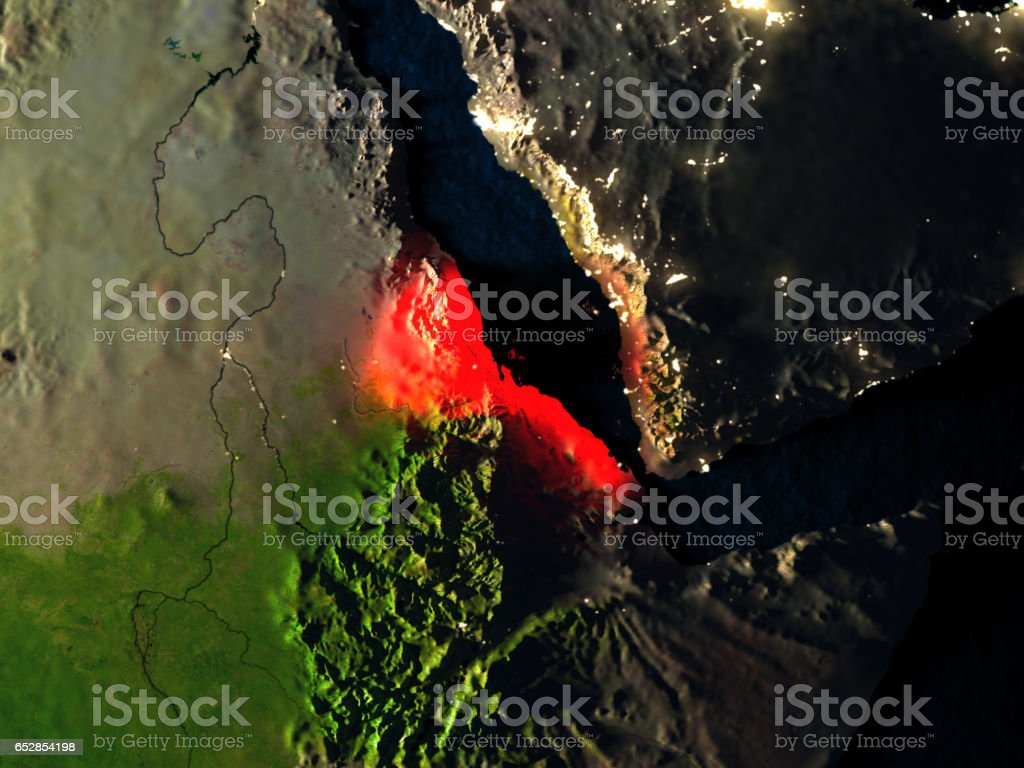 Eritrea in red from space at night vector art illustration