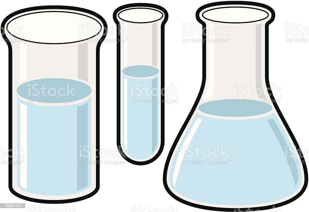 Erlenmeyer Flask and Test Tube royalty-free stock vector art