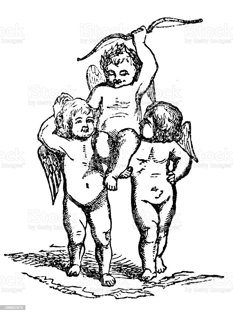 Eros and angel cherubs vector art illustration