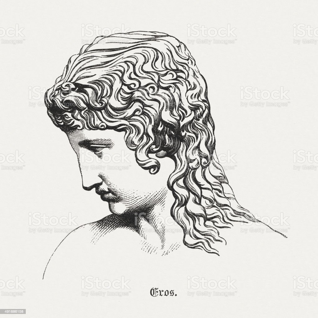 Eros - Greek god of Love, published in 1878 vector art illustration