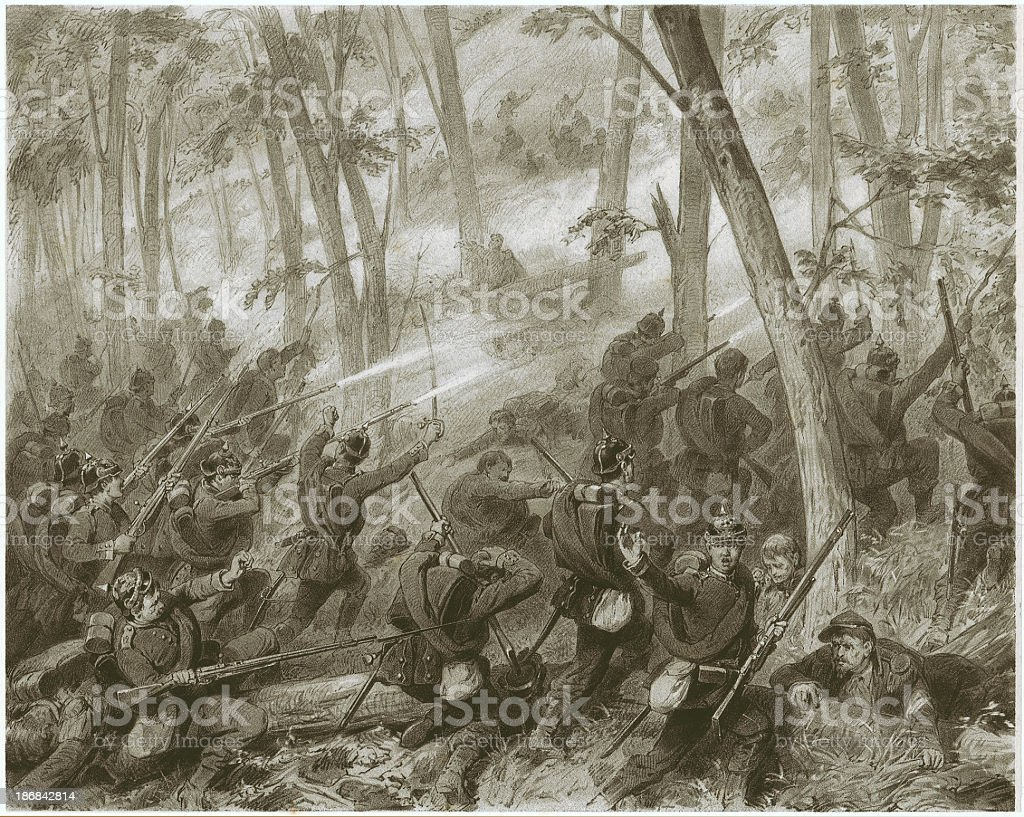 Escalade of the Heights Spicherner (Franco-German War, 1870/71), lithograph, 1871 royalty-free stock vector art