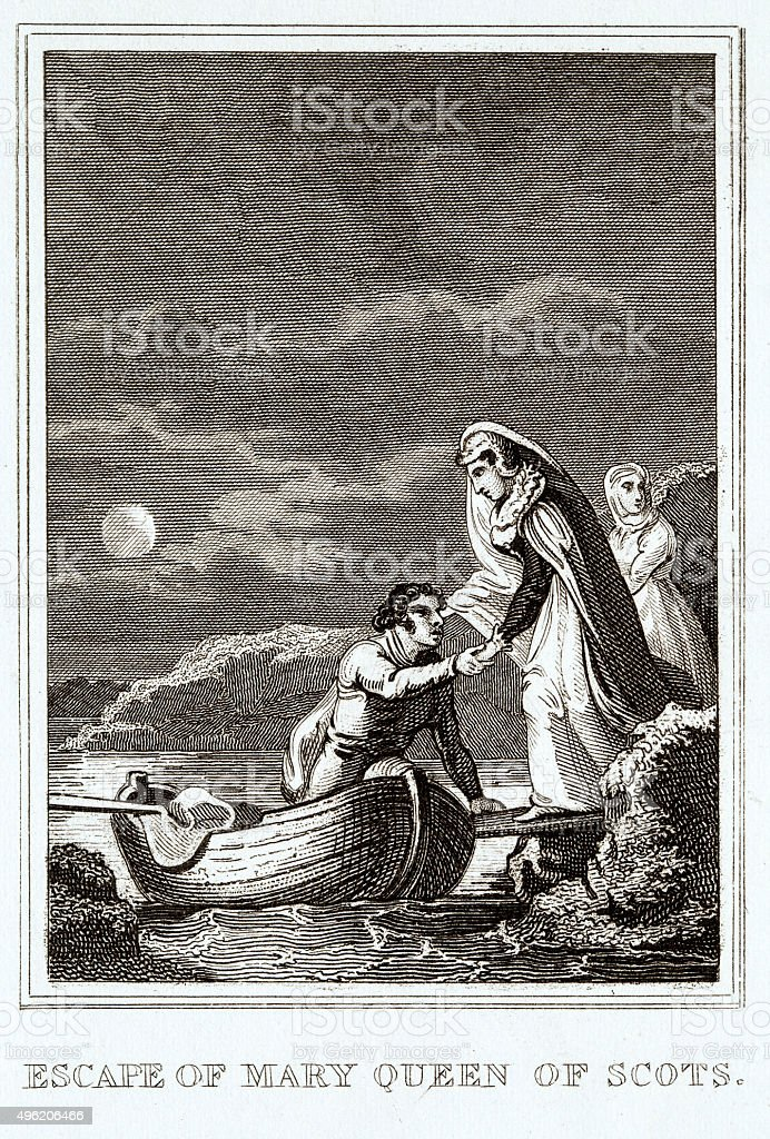 Escape of Mary, Queen of Scots vector art illustration