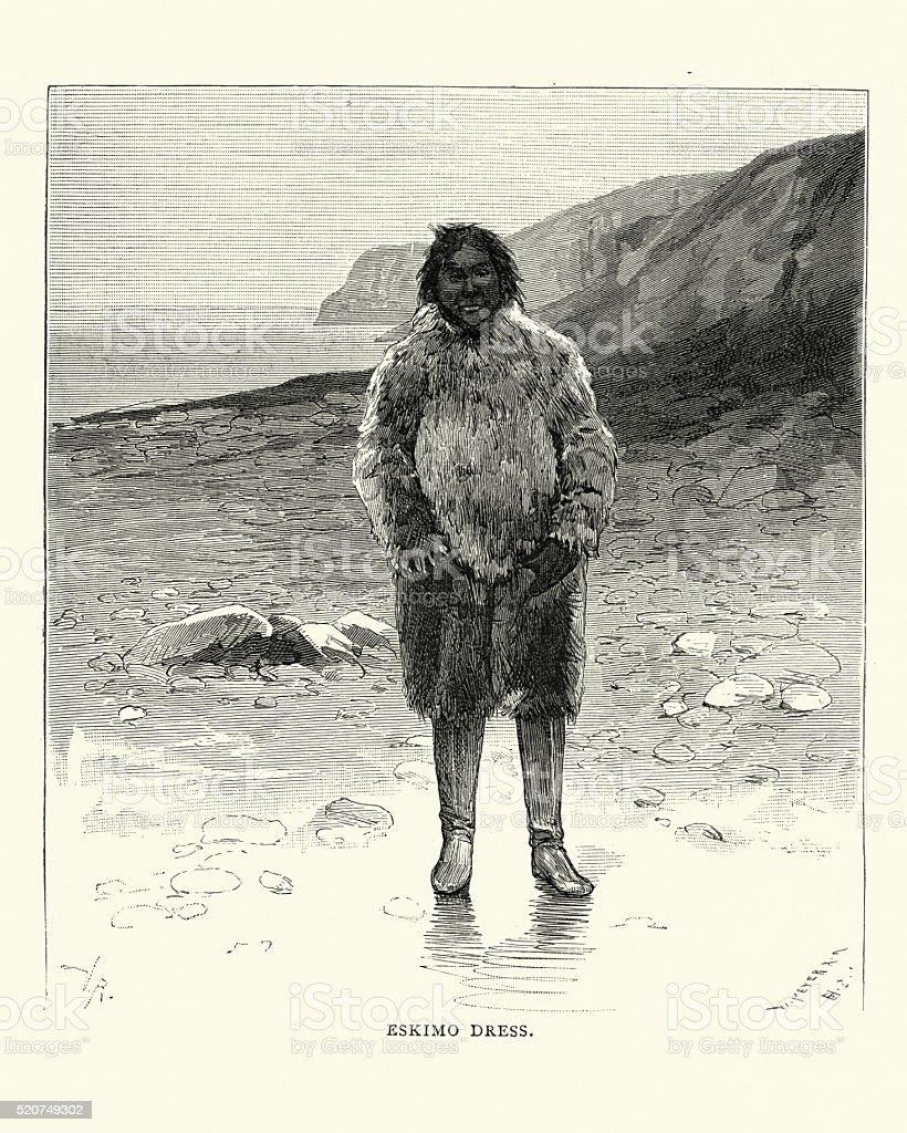 Eskimo, 19th Century vector art illustration