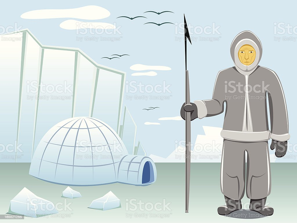 eskimo and arctic landscape royalty-free stock vector art