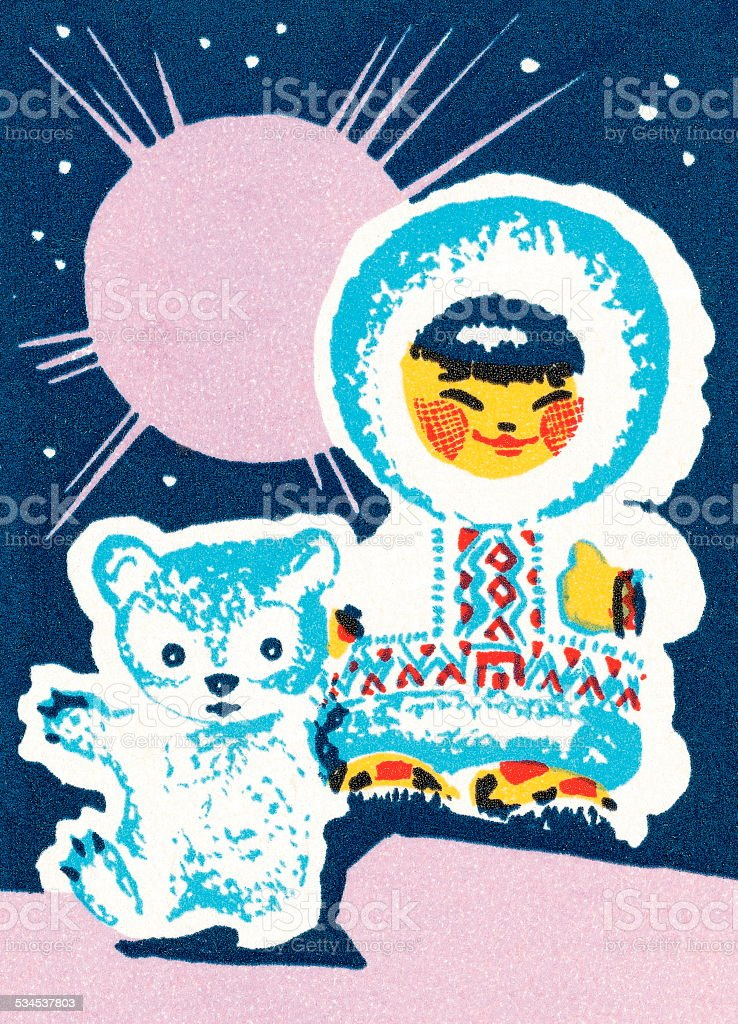 Eskimo and bear vector art illustration