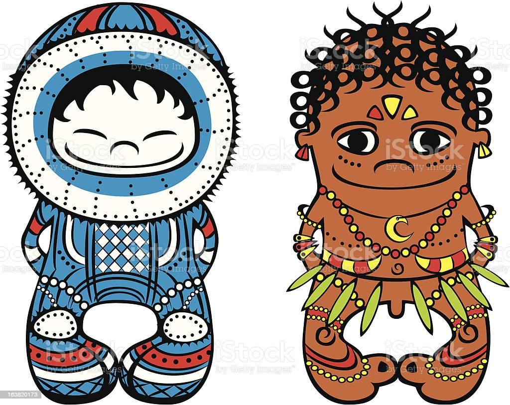 Eskimo and Papuan royalty-free stock vector art