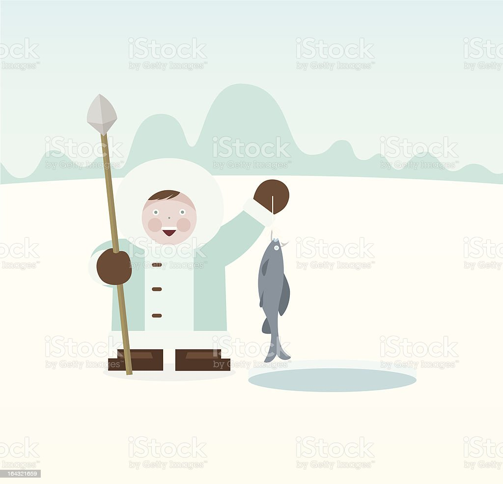 Eskimo Fisherman royalty-free stock vector art