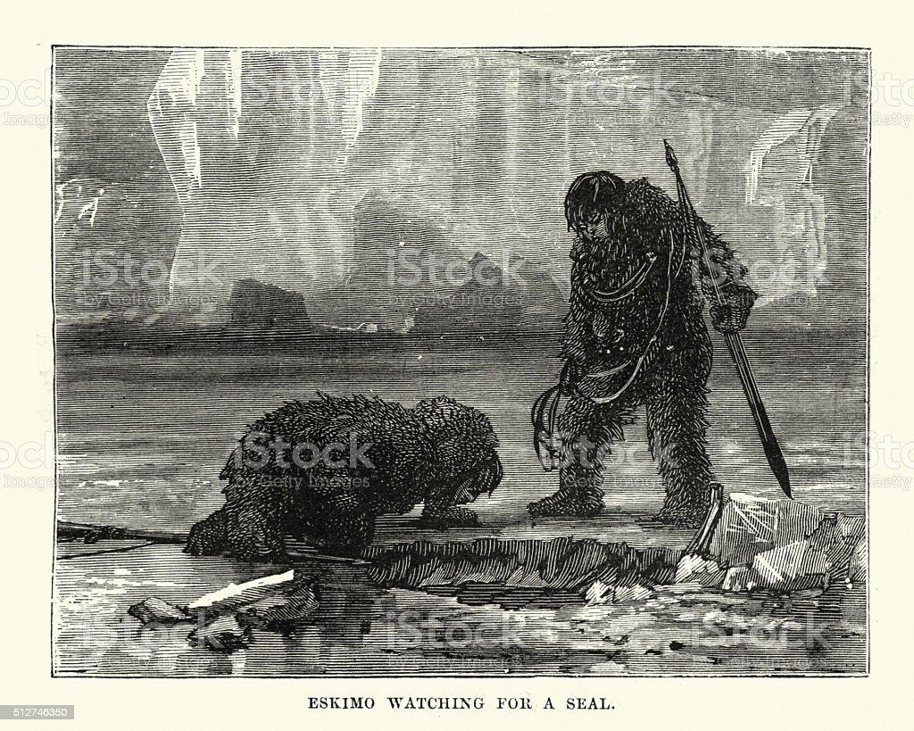 Eskimo hunters waiting for a seal vector art illustration