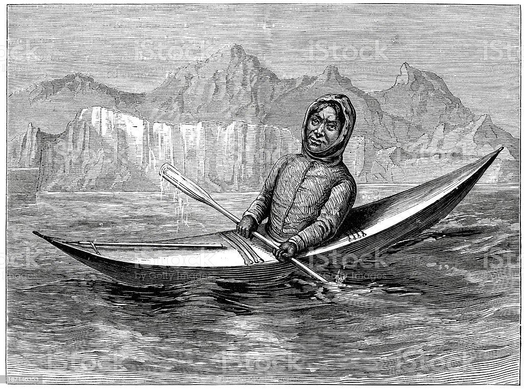 Eskimo in his kayak vector art illustration