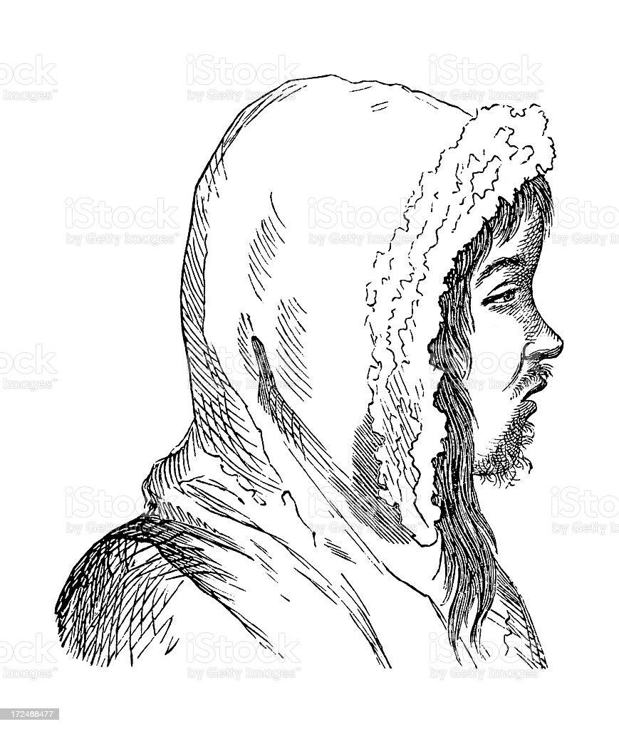 Eskimo man from Greenland (antique wood engraving) vector art illustration