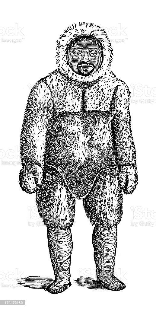 Eskimo man (antique wood engraving) vector art illustration