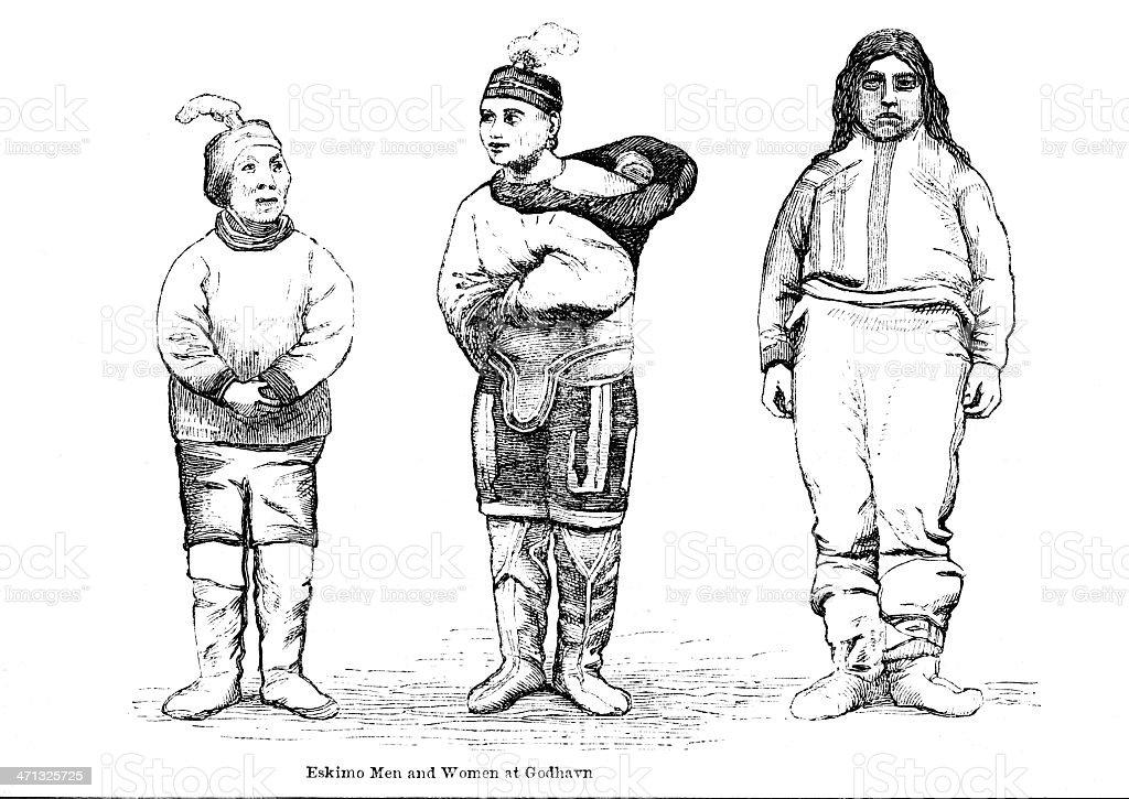 Eskimo men and women at Godhavn 1862 journal vector art illustration