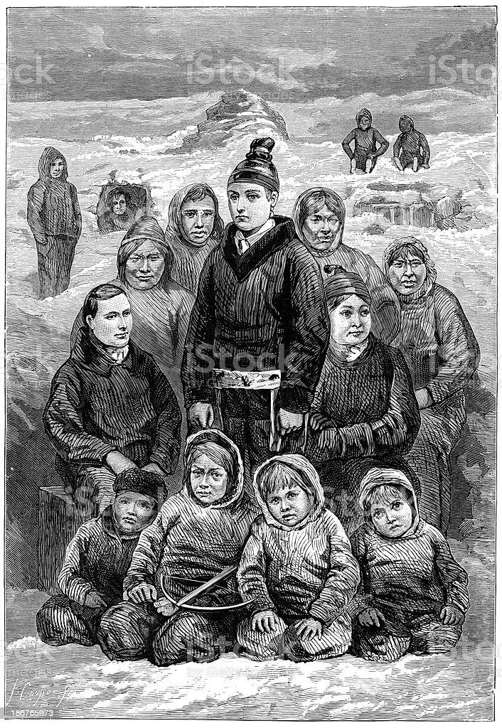 Eskimos vector art illustration