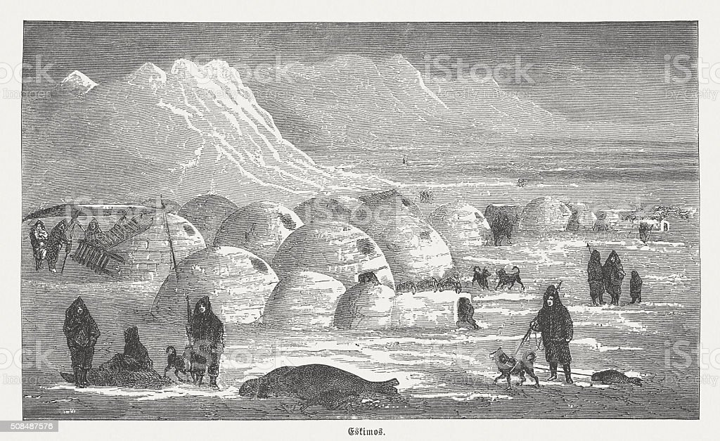 Eskimos in the winter, wood engraving, published in 1882 vector art illustration