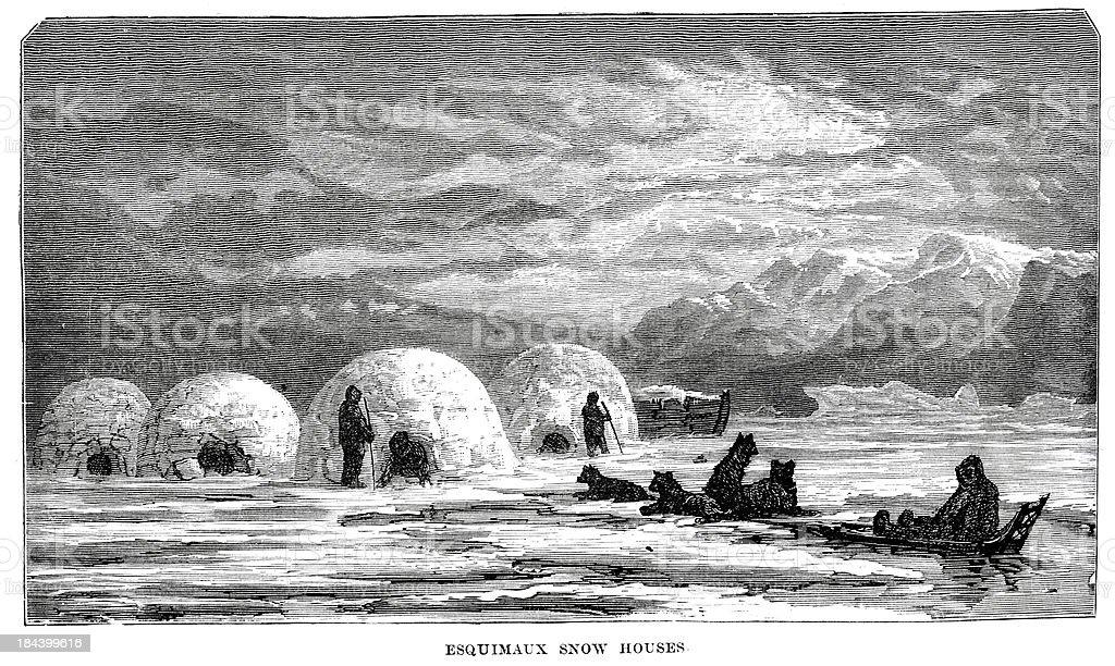 Eskimos snow houses vector art illustration