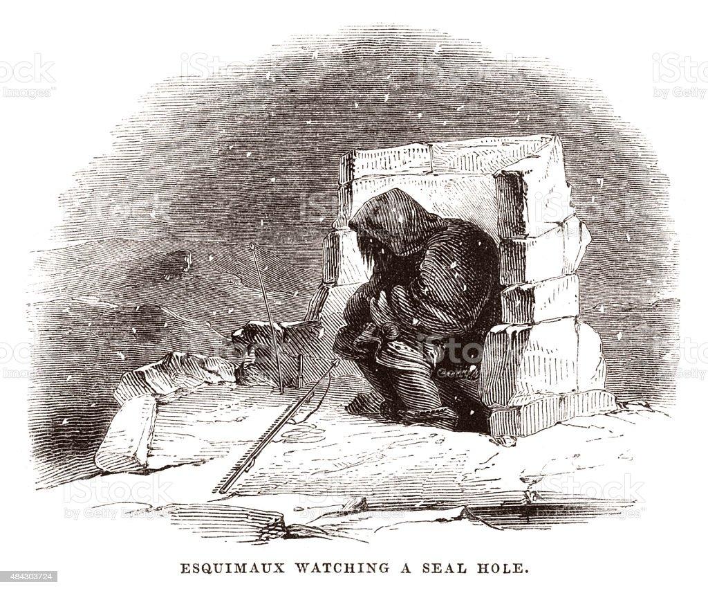 Esquimax (Eskimo) watching a seal hole vector art illustration