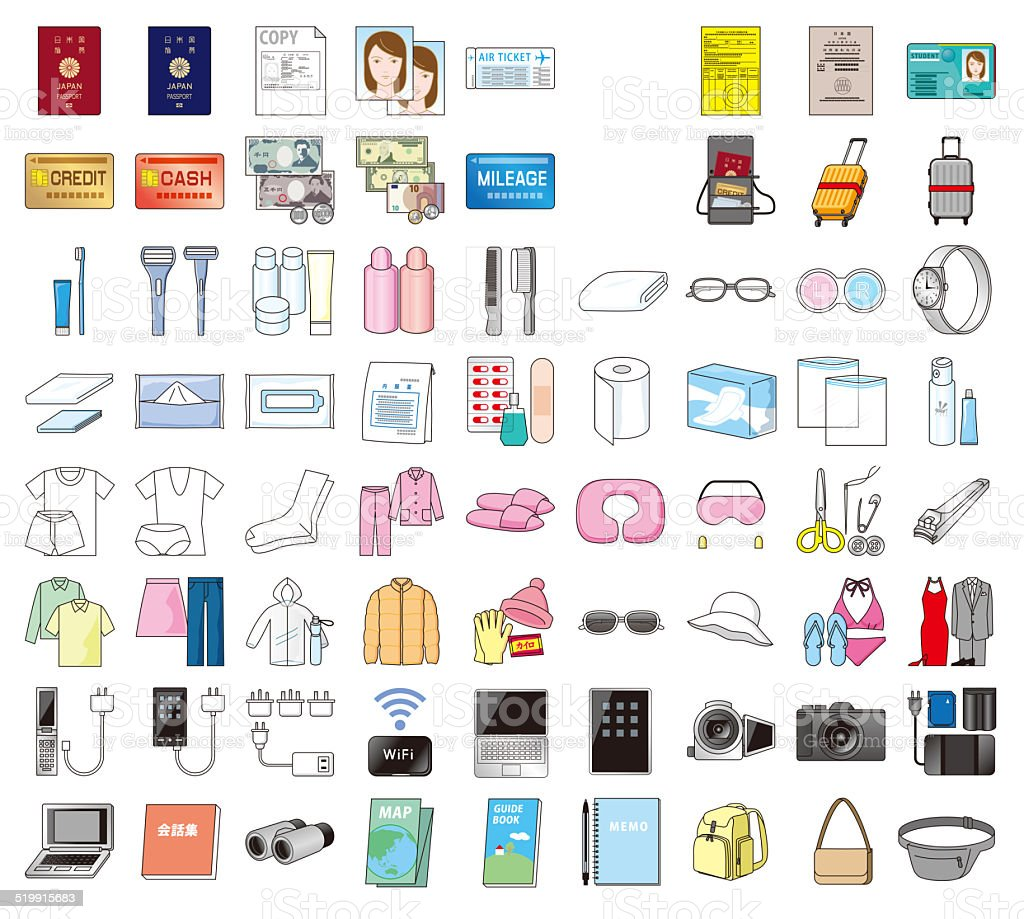 Essentials of overseas travel. Japanese style vector art illustration