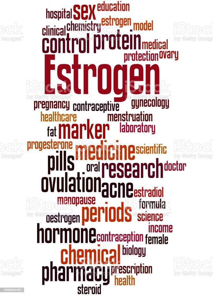 Estrogen, word cloud concept 4 vector art illustration