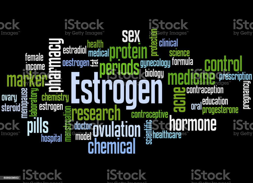 Estrogen, word cloud concept 7 vector art illustration