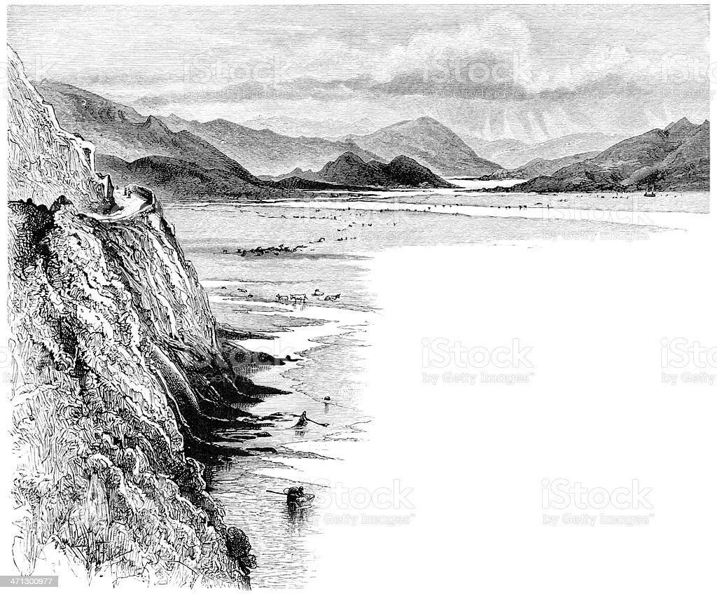Estuary between Dolgelly and Barmouth, Wales vector art illustration
