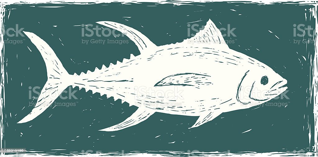 etched tuna royalty-free stock vector art