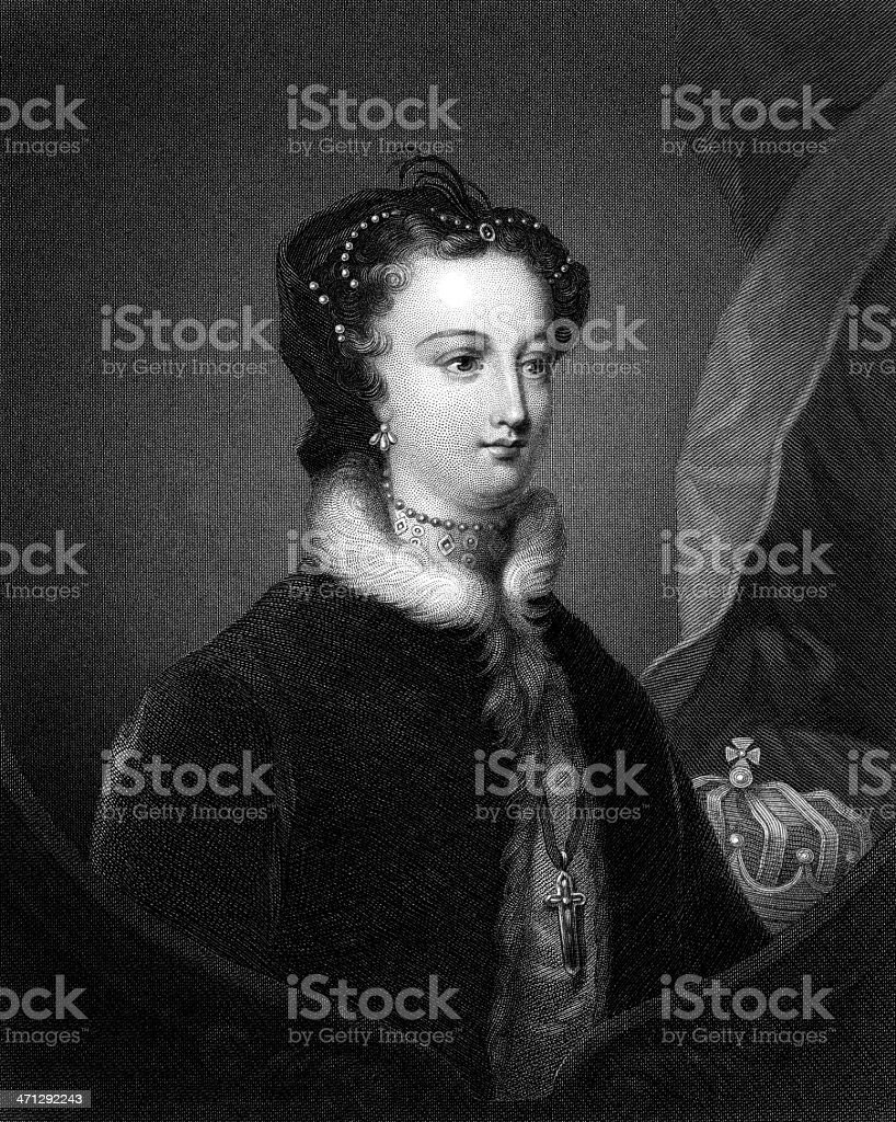 Etching: Mary Queen of Scots (Engraved illustration) vector art illustration