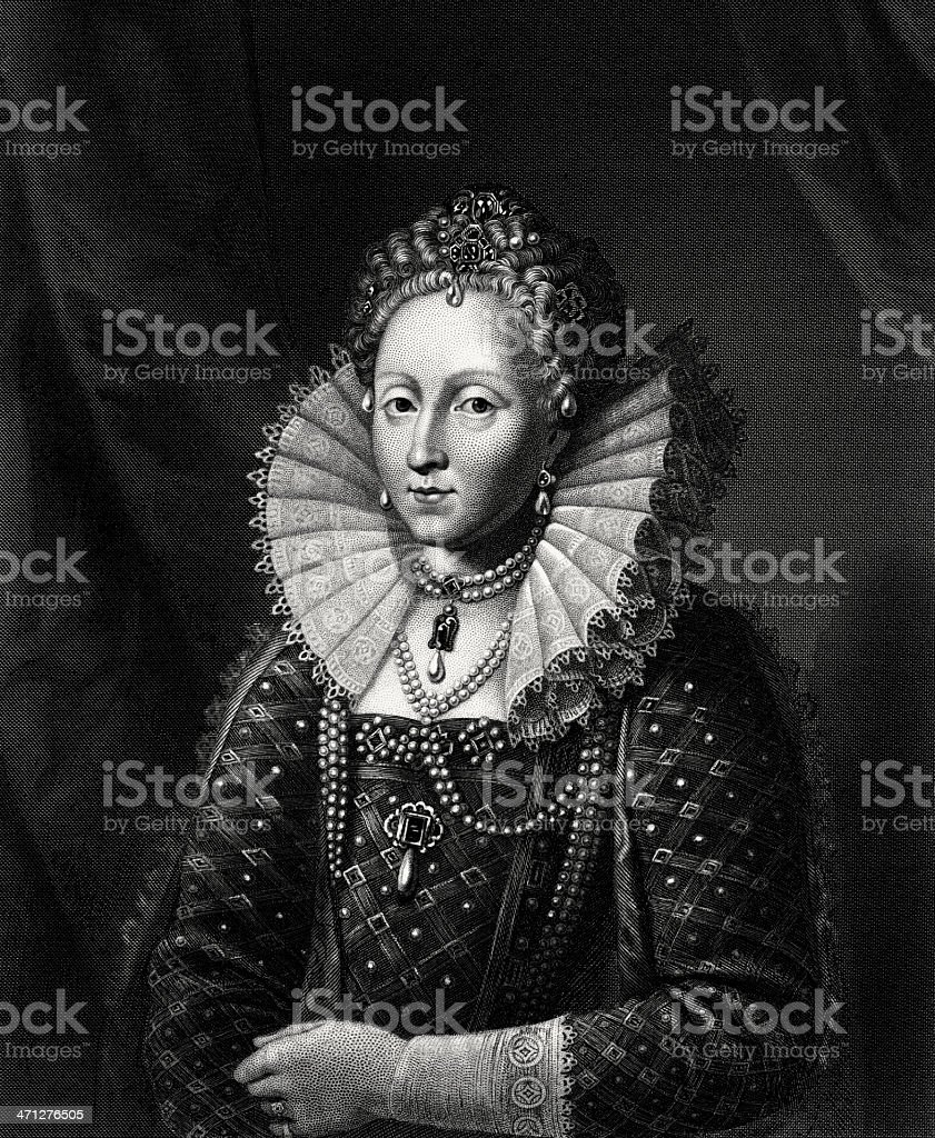 Etching of Queen Elizabeth the First (Engraved illustration) royalty-free stock vector art