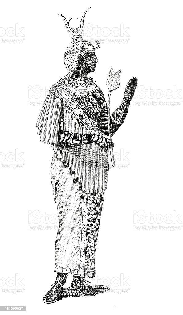 Ethiopian queen (antique wood engraving) royalty-free stock vector art