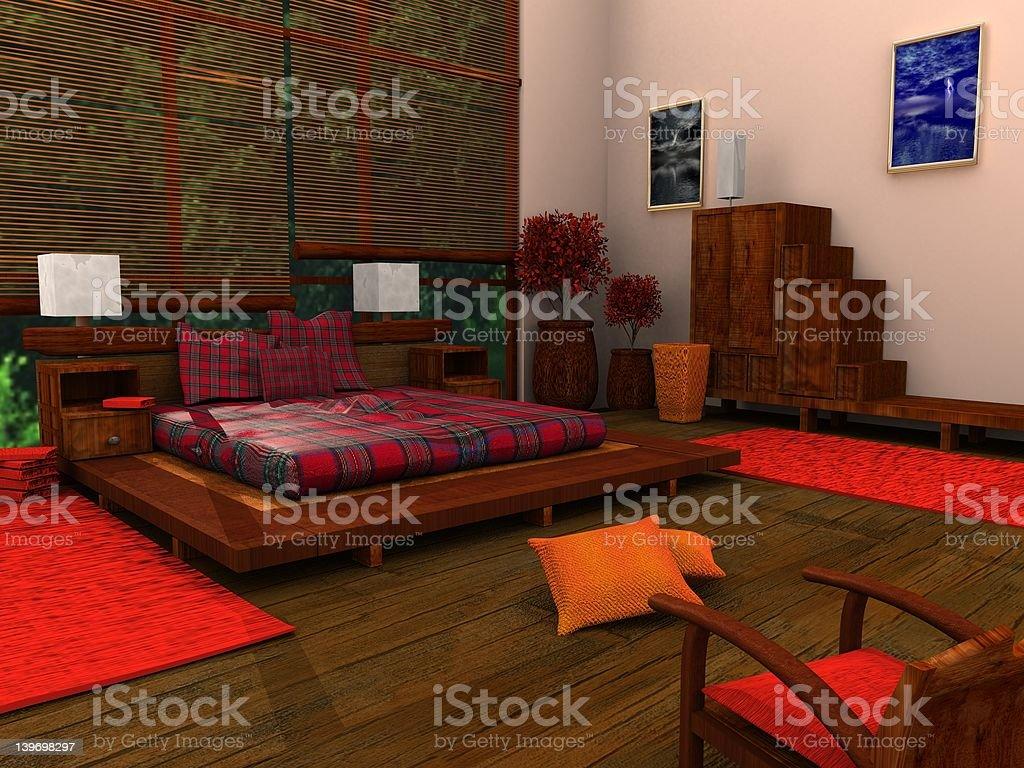 Ethnic Bedroom royalty-free stock vector art