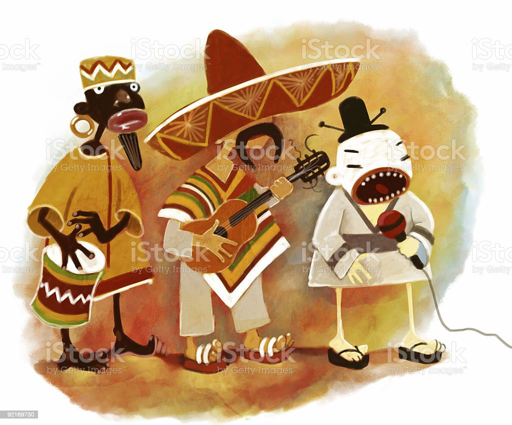 ethnic trio royalty-free stock vector art