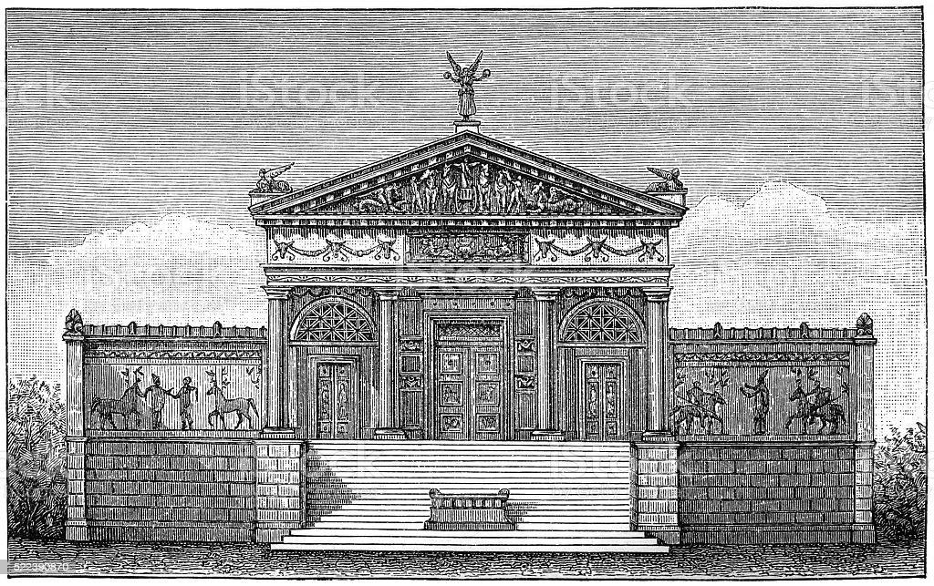 Etruscan temple vector art illustration