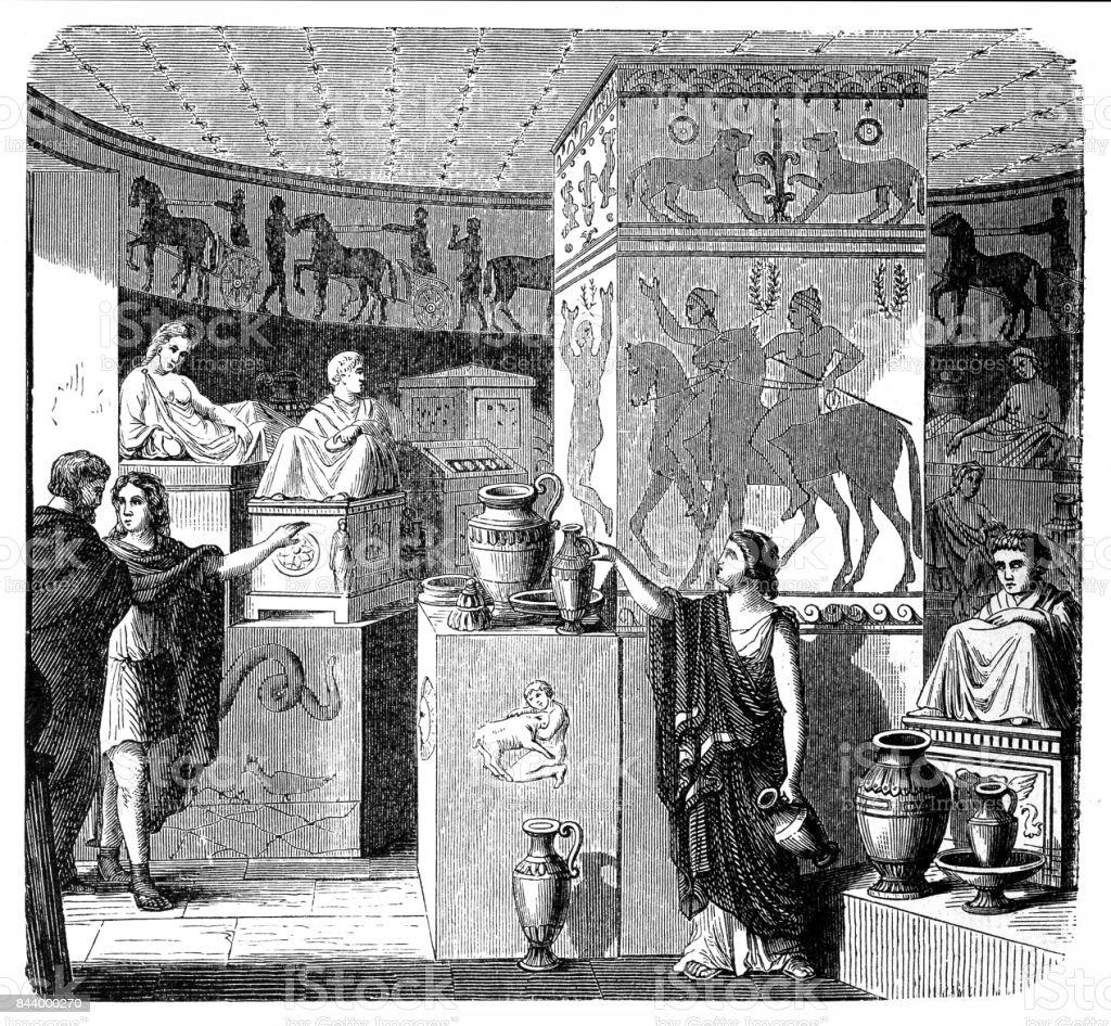 Etruscan tomb, Volterra, visual reconstruction vector art illustration