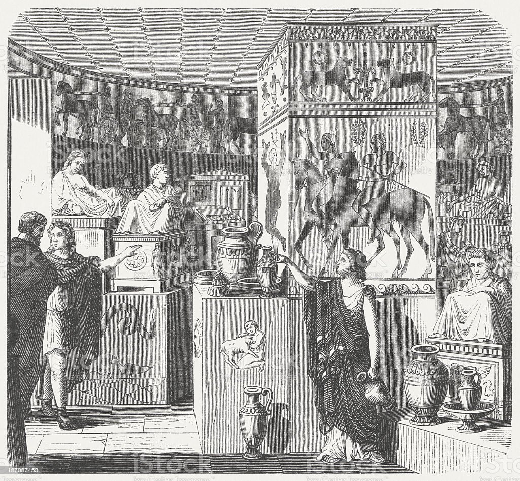 Etruscan tomb, Volterra, visual reconstruction, wood engraving, published in 1876 vector art illustration