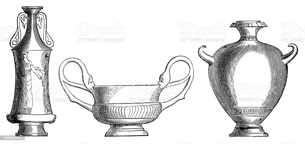 Etruscan vases vector art illustration