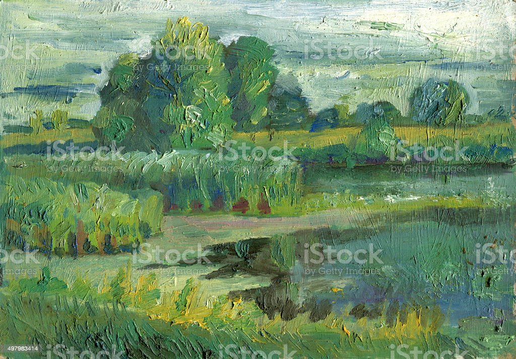 Etude from the lake in the summer oil painting vector art illustration