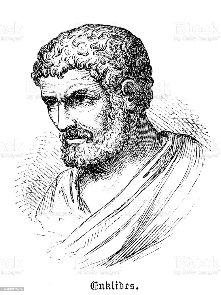 Euclid (c. 360 BC-280 BC), Greek mathematican vector art illustration