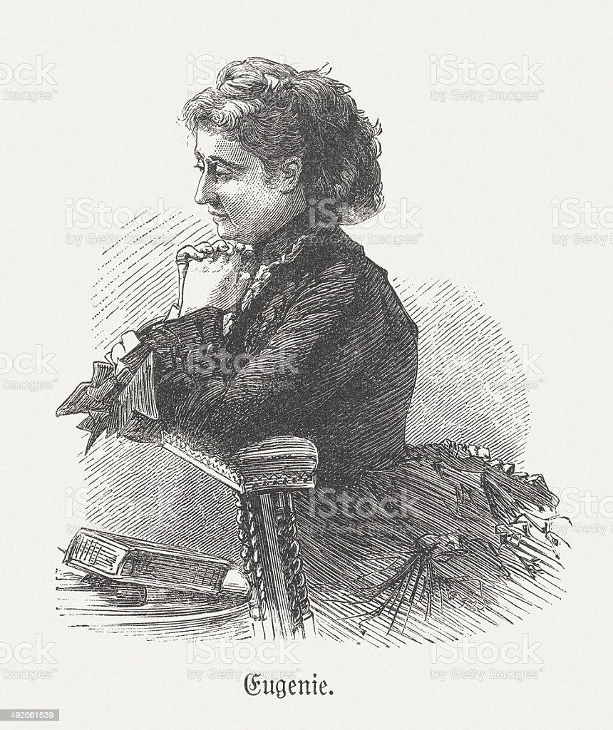 Eugénie de Montijo (1826-1920), wife of Napoleon III, published 1881 vector art illustration
