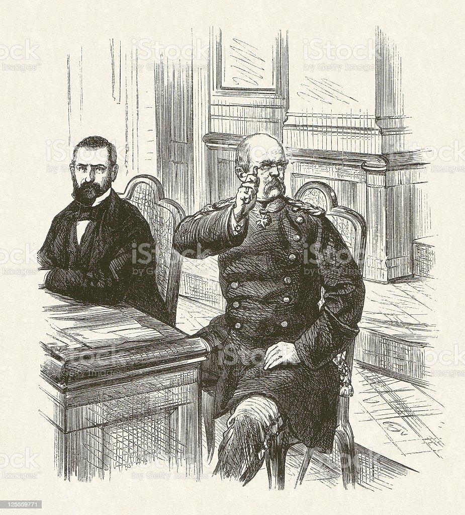 Eulenburg (left) and Bismarck in the North German Diet 1868 royalty-free stock vector art