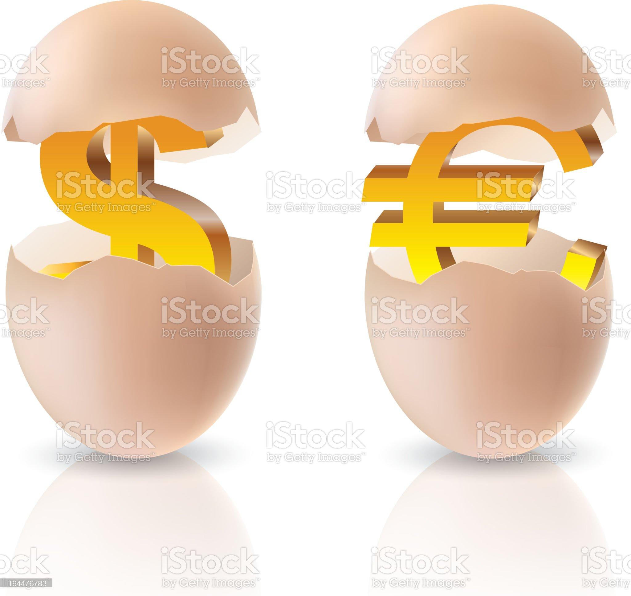 Euro and dollar royalty-free stock vector art