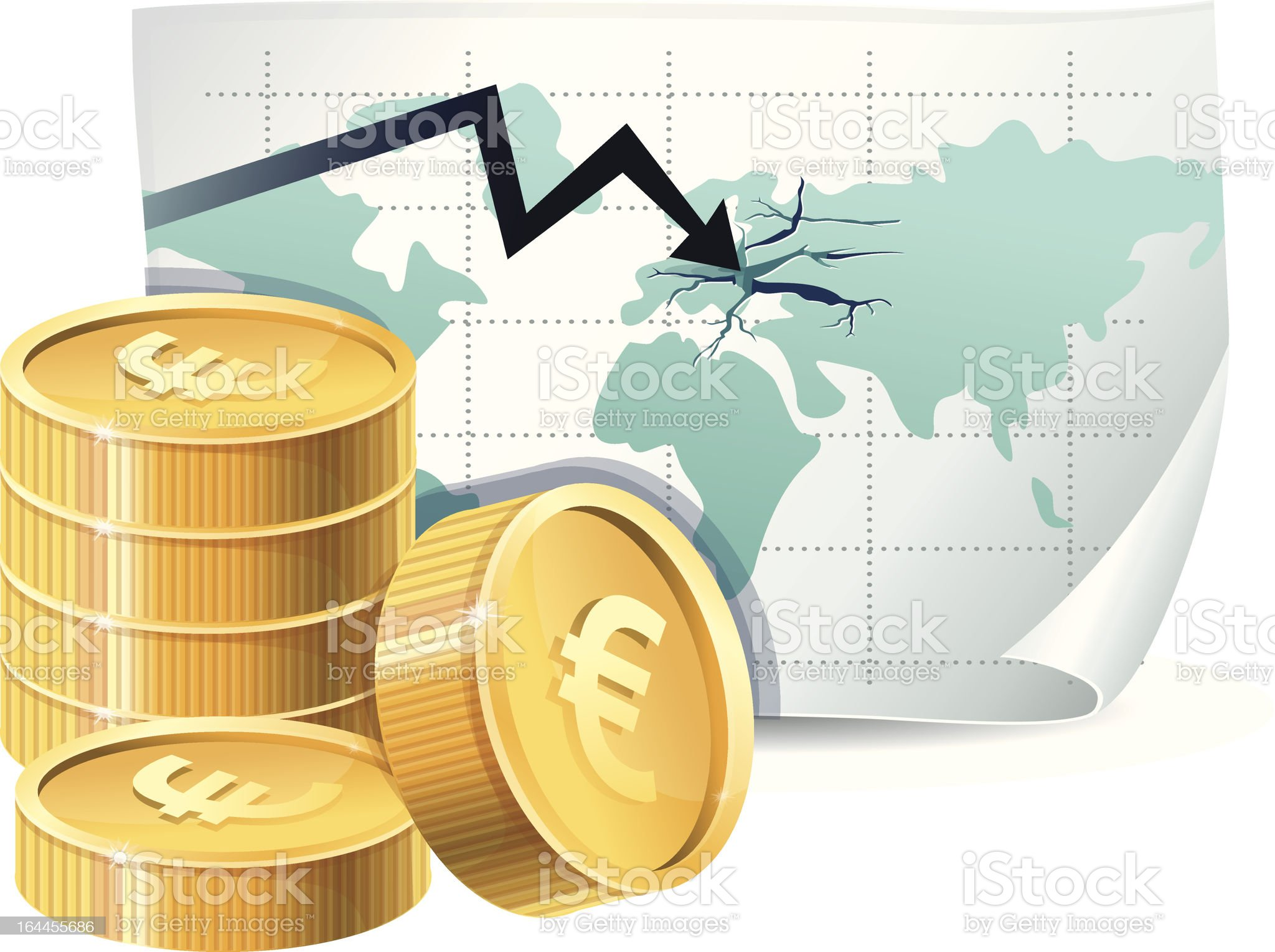 euro finance crisis concept royalty-free stock vector art
