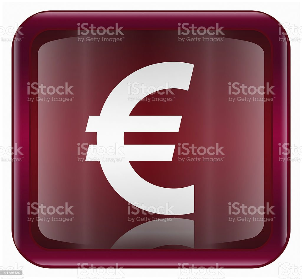 euro  icon dark red, isolated on white background royalty-free stock vector art