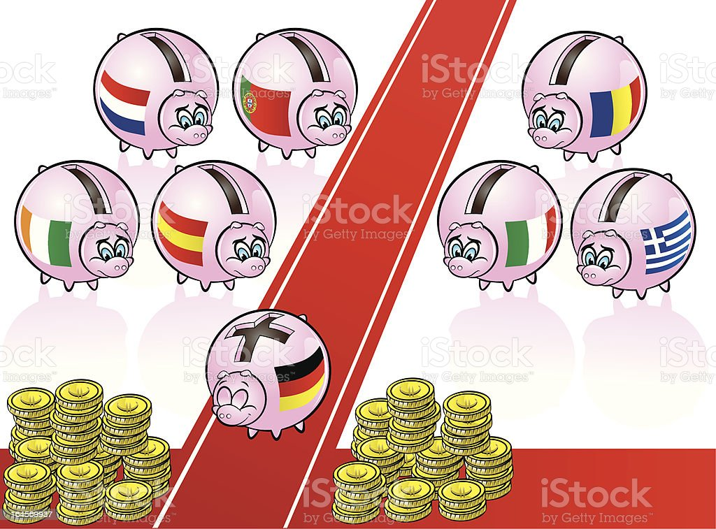 euro piggy banks royalty-free stock vector art