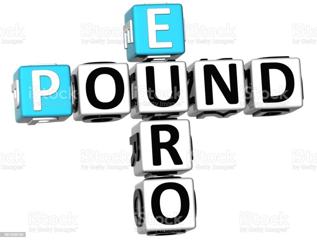3D Euro Pound Crossword vector art illustration